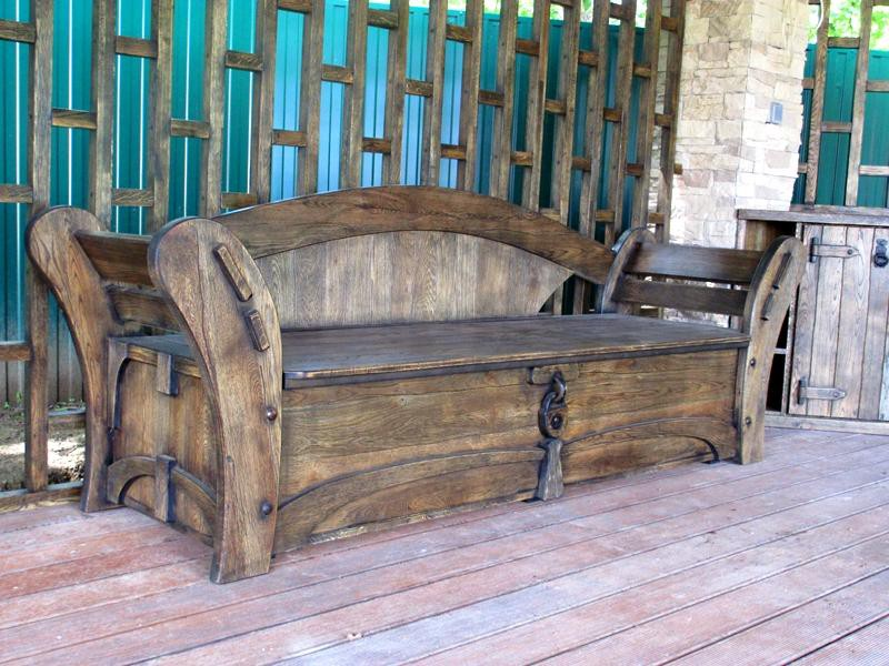 Скамейка из массива дерева под старину купить в Белгороде